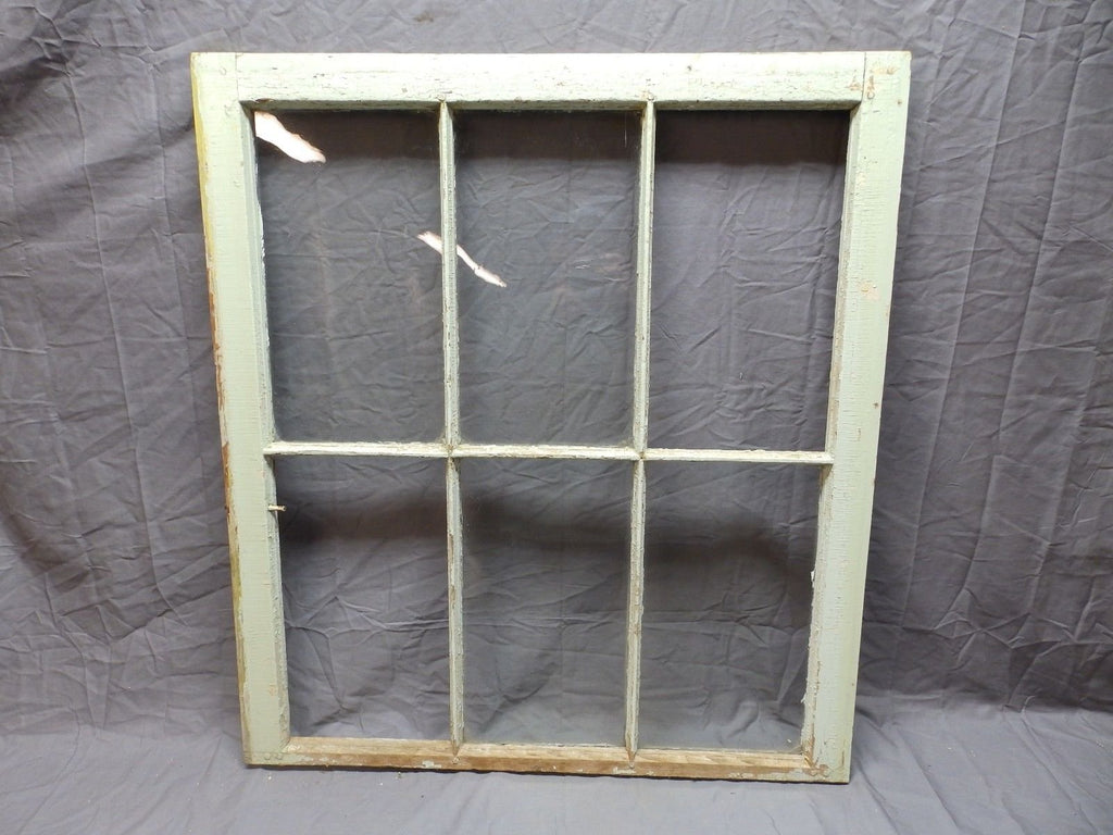 "Antique 6 Lite Window Sash 35""x32"" Green Shabby Country Vtg Chic Old 582-18P"