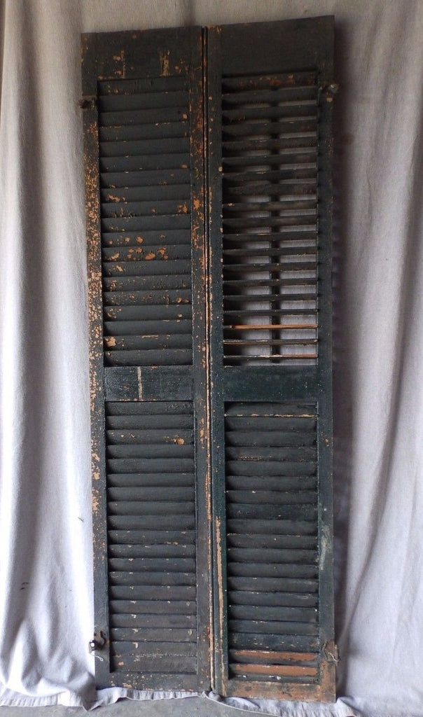Pair Antique Window Wood Louvered Shutter Shabby Old Chic Vintage 70X12 60-17P