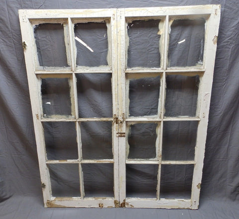Antique Pr Casement Windows 58x24 Bookcase Cupboard Cabinet 8 Lite Doors 667-18P