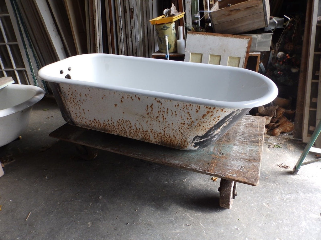 Antique 5\' Cast Iron White Porcelain Claw foot Bathtub Vtg Bathroom ...