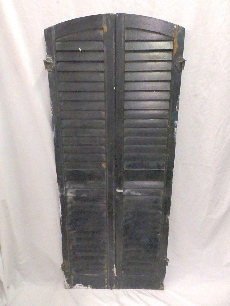 Pair Antique Arch Top House Window Wood Louvered Shutters Shabby 59X12 541-17P