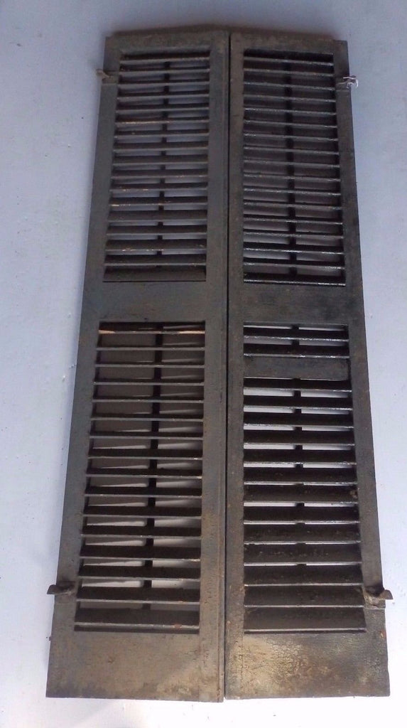 Pair Antique Window Wood Louvered Shutter Shabby Old Chic Vtg 62x13 467-17R