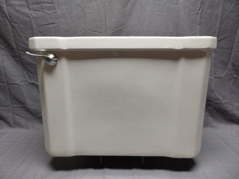 Antique Deco Ceramic White Porcelain Toilet Tank With Lid Vtg Plumbing 508-18P