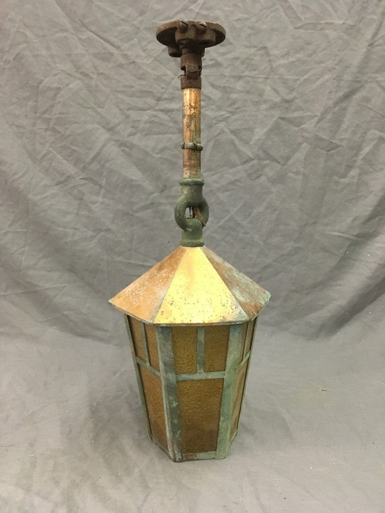 Vtg Copper Porch Ceiling Light Lantern Amber Stained Glass Panels Old 59-18E