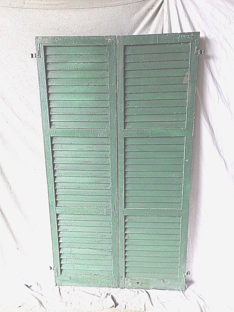 Pair Antique Window Shutters Wood Louvered Shabby Vtg Chic 72X20 208-17P