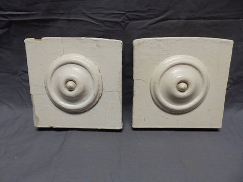 Pair of Antique Architectural Door Corner Blocks Bullseye Moulding Vtg 492-18P