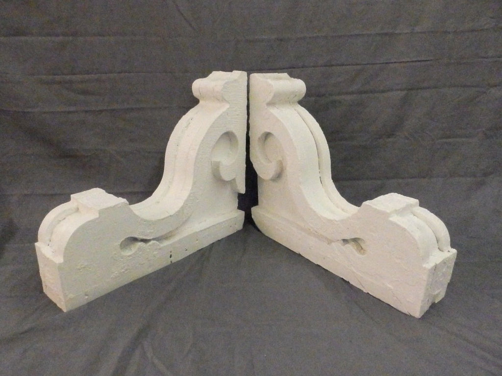 Pair Antique Victorian Gingerbread Corbels Roof Shelf Brackets Vtg Chic 538-17P