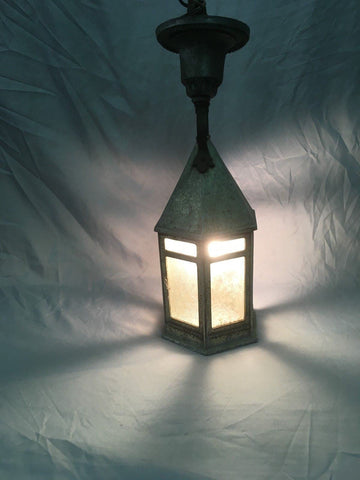 Antique Cast Aluminum Arts Crafts Porch Ceiling Light Fixture Vtg Mission 77-18E