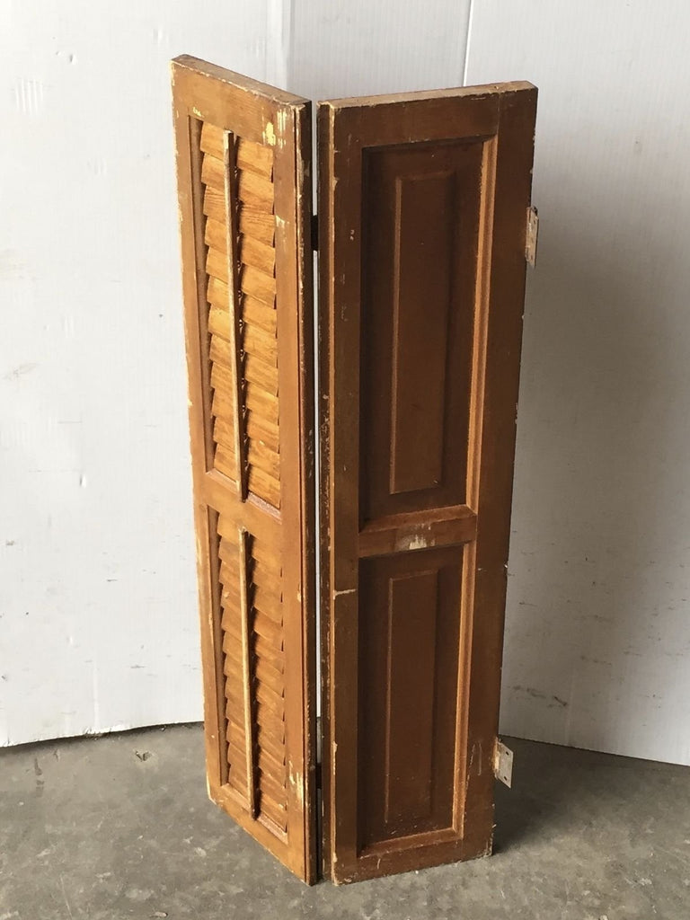 Antique Bi-fold Window Wood Louvered Paneled Shutter Interior Old 14x34 1537-16
