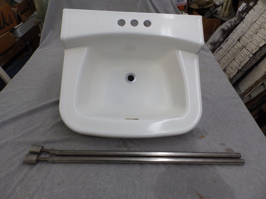 Vtg Cast Iron White Porcelain Sink Chrome Old Legs Mid Century Plumbing 1560-16