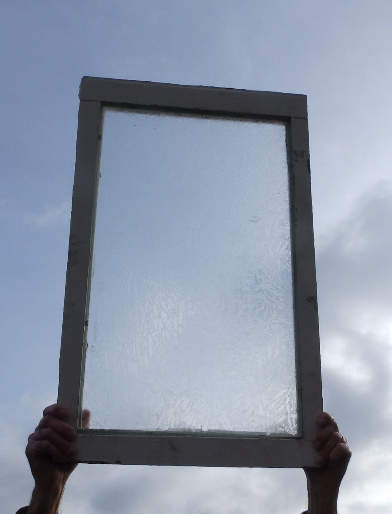 Antique Frosted Iced Glass Window Sash 24x24 Privacy Etched Vtg Chic Old 559-18P