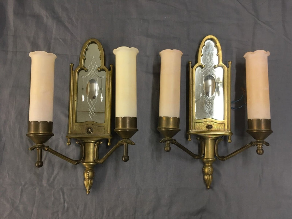Antique Brass Mirrored Sconce Pair Cylinder Glass Shades Vtg Victorian 525-17E