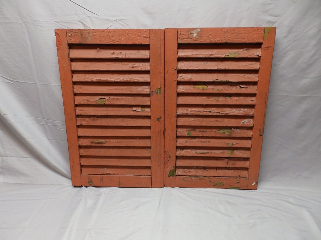 Pair Antique House Window Wood Louvered Shutters Shabby Old Chic 25x15 56-18P