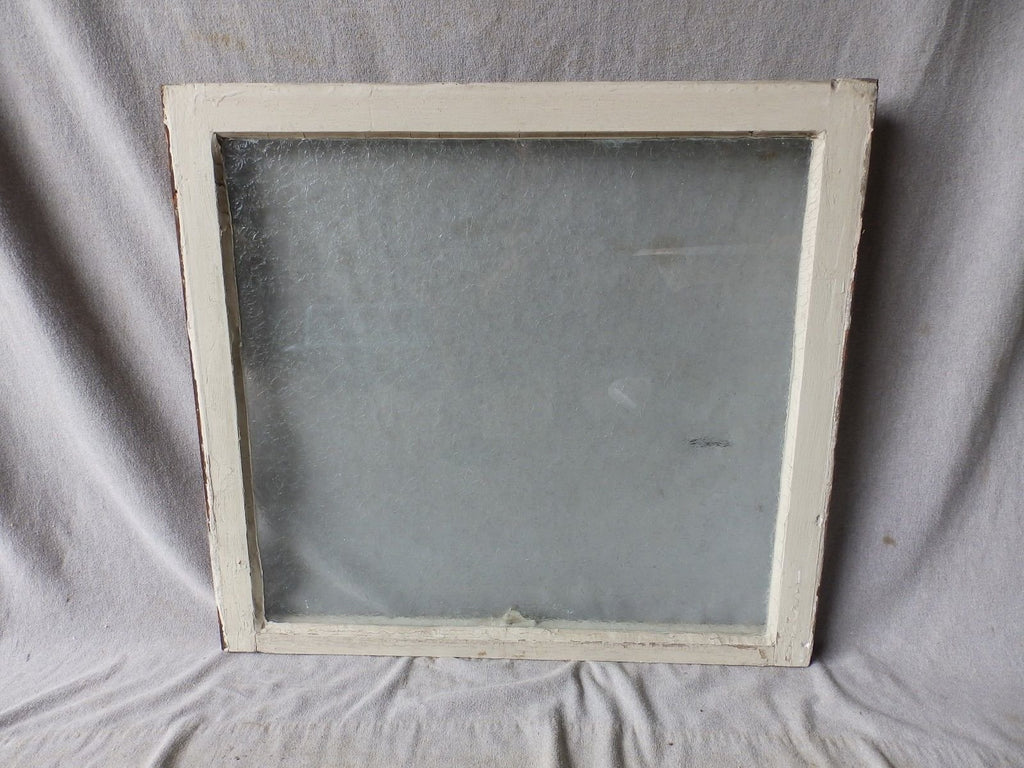 Antique Window Sash Iced Privacy Glass Pebbled Vtg House Bathroom 27x30  291-17P