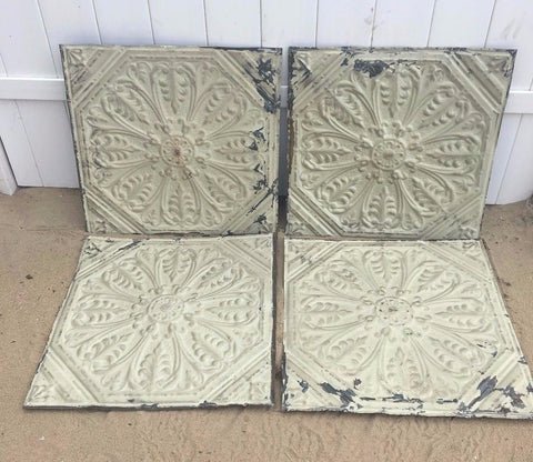 "100 Sq Ft  Antique Shabby 24"" Chic Tin Ceiling Tile  Vtg Green Metal  220-17J"
