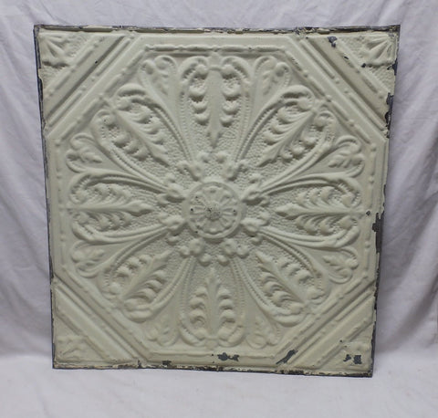 "Antique Shabby 24"" Chic Tin Ceiling Tile Panel Vtg Pale Green Metal 384-18P"