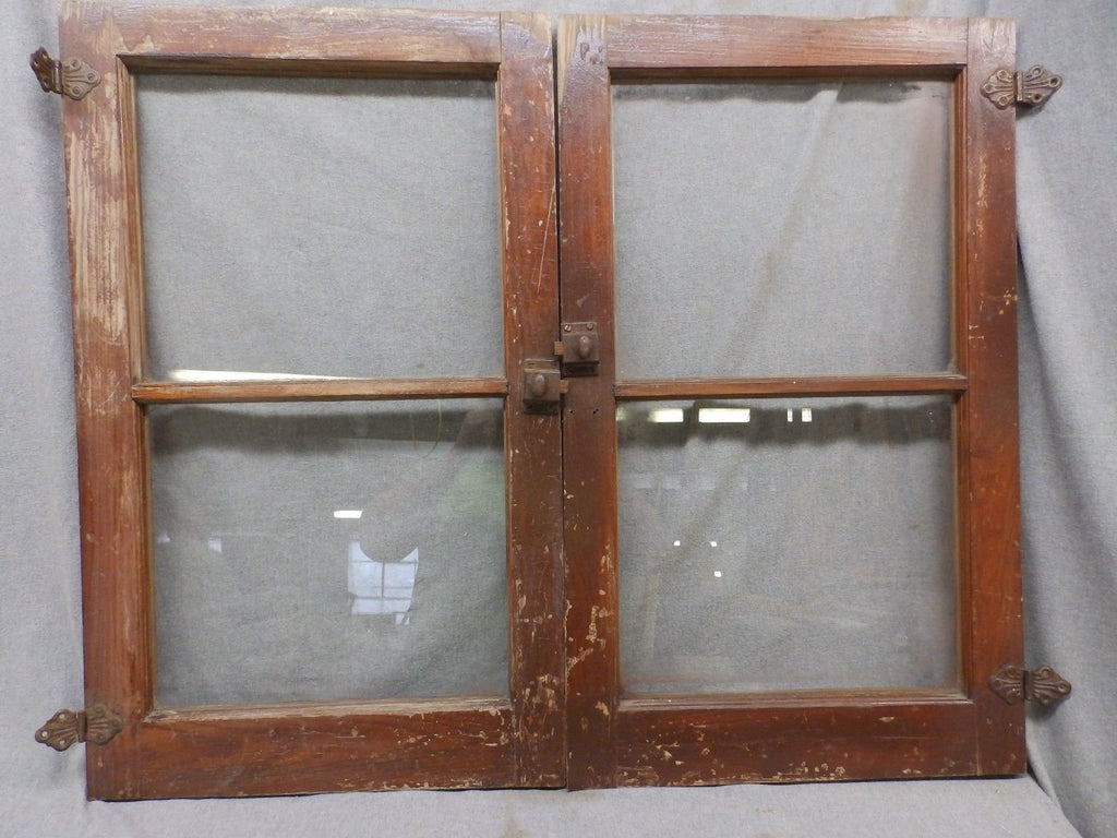 Pair Antique Cabinet Cupboard Doors Windows Bookcase 30x18 451-17R