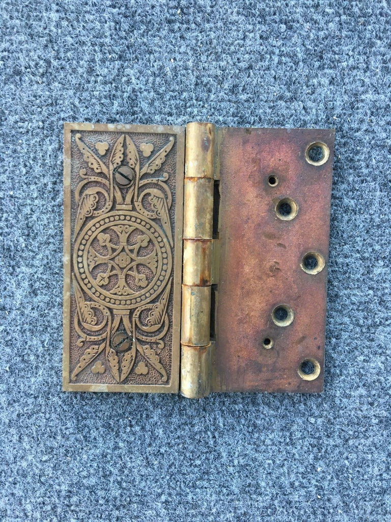 One Parts Antique Entrance Door Brass Hinge Eastlake 5x5 Old Vintage 166-18J