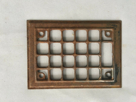 1 Antique Stamped Steel Wall Heat Grill Ceiling Vent Grate 5 x 7 Vtg Fireplace 58-19J