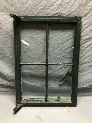 Vintage Tudor 19x27 Industrial Steel Casement 4 Lite Glass Window Old Black 506-21B
