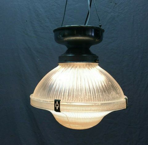 "Vintage 10"" Holophane Ceiling Light Chrome Canopy Textured Glass 383-21B"