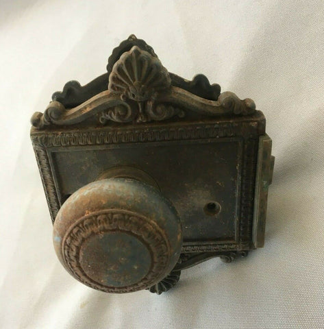 Antique Cast Iron Entry Door Knob Set Back Plates Mortise Decorative Hardware Vtg 57-19J