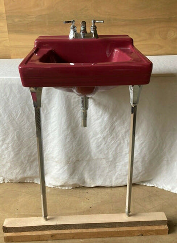 Vtg Mid Century Burgundy Red Porcelain Bath Sink Chrome Legs Standard 113-21E