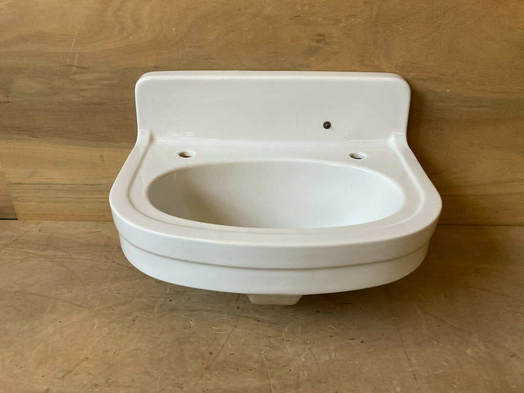 Vtg Half Round Wall Mount Bath Sink Ceramic White Porcelain Old Douglas 120-21E