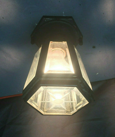 Vtg Hexagonal Copper Mid Century Ceiling Light Fixture Beveled Glass 104-19L