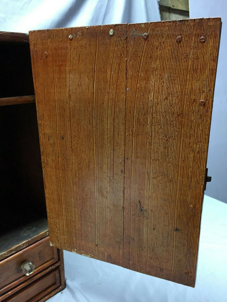 Antique Country Lodge Wood Medicine Cabinet Cupboard Oval Mirror Drawe New York Salvage