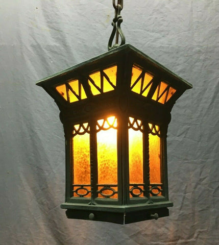 Antique Brass Vintage Hanging Ceiling Light Amber Stained Glass  371-21B