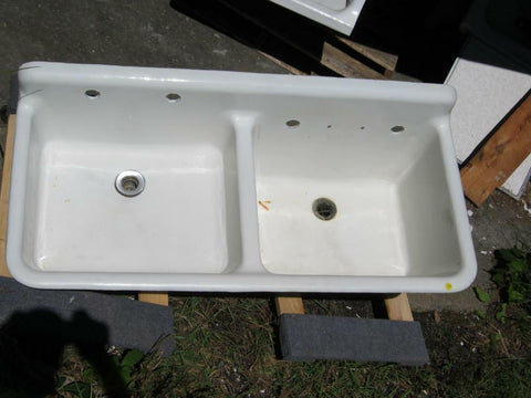"Antique Vintage Kitchen Farm Sink Double Basin 46"" Cast Iron Porcelain 2247-13"