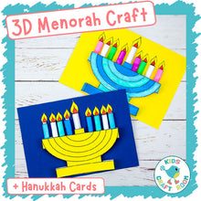 Load image into Gallery viewer, 3D Menorah Craft and Hanukkah Cards