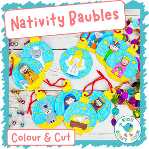 Nativity Baubles To Colour