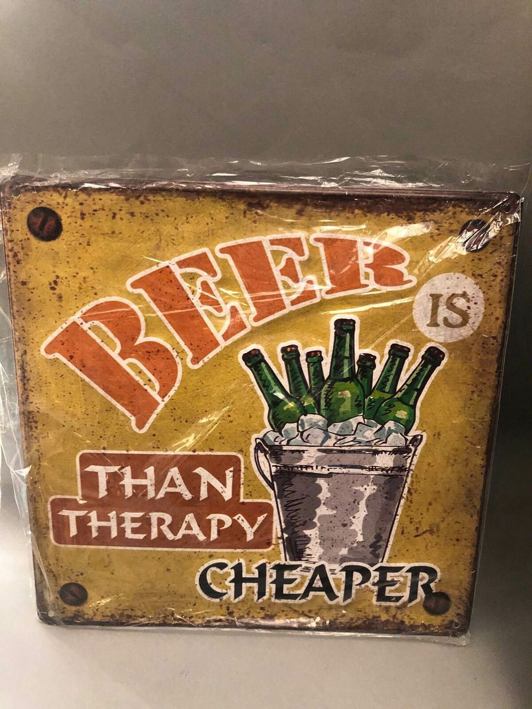 Nostalgie Retro Blech Schild Beer Bier is cheaper than therapy 30 x 30 42011