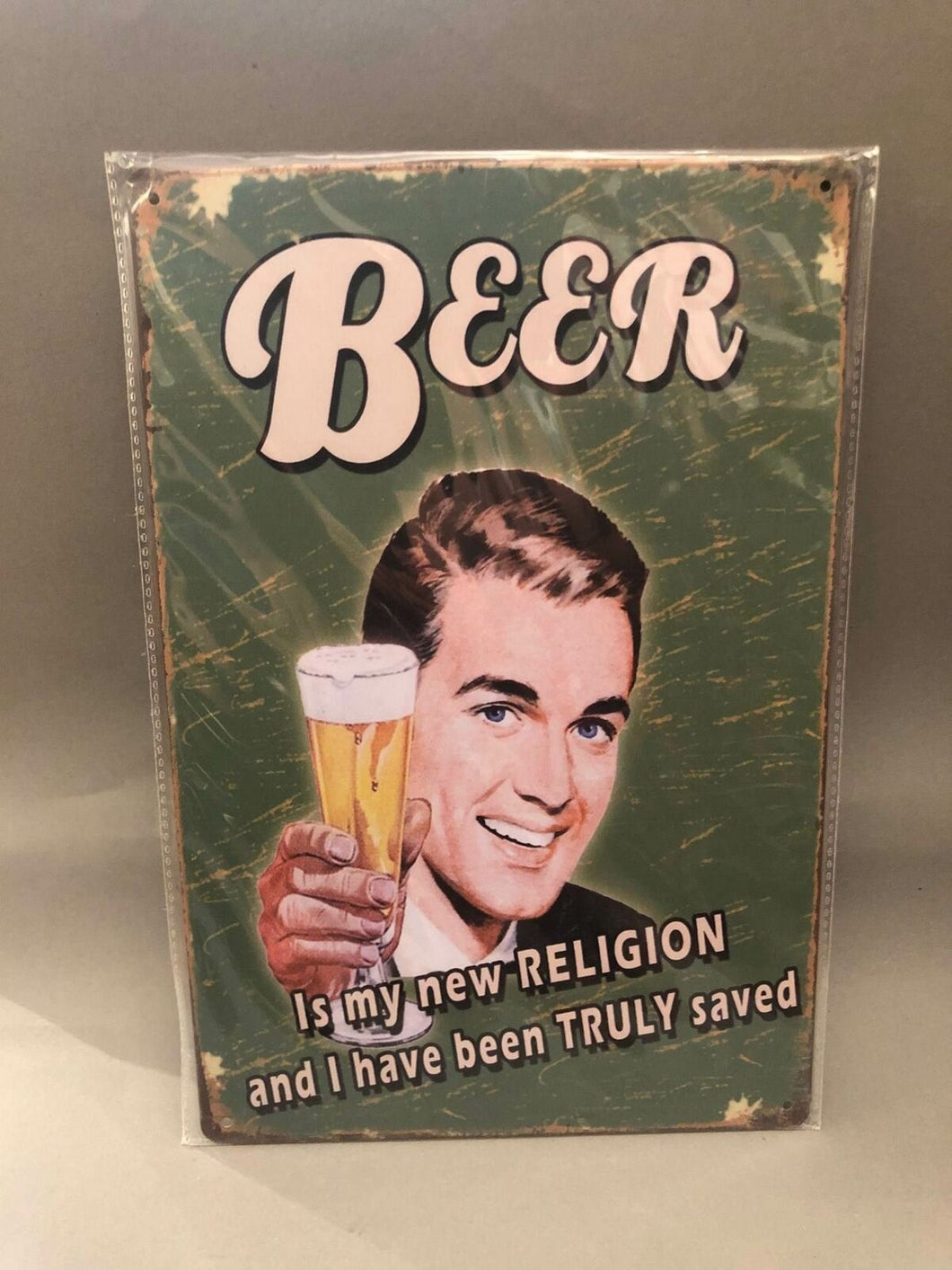 Nostalgie Blech Schild Beer Bier is my new religion 20 x 30 42006