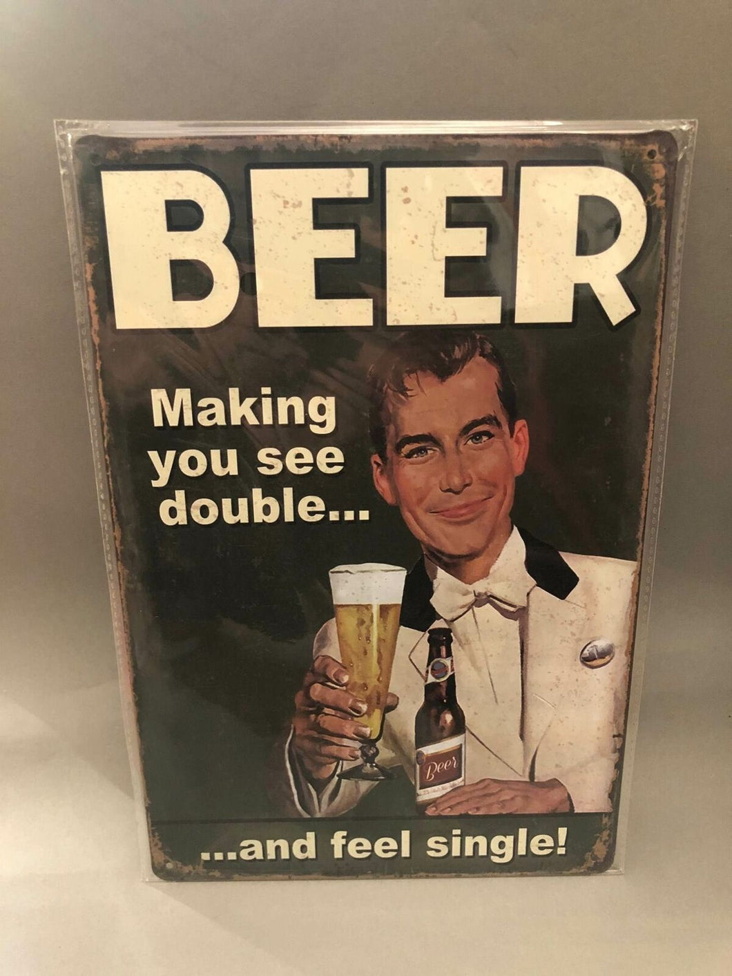 Nostalgie Blech Schild Beer Bier making you see double and feel 20 x 30 42010