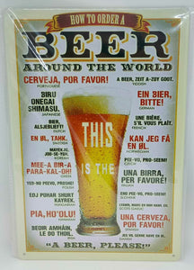 "Retro Blechschild Bier ""how to order a beer around the world"", Maße 30x20 50046"