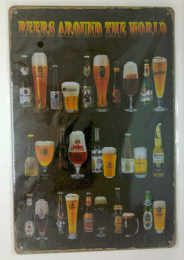 "Retro Blechschild Bier ""beers around the world"", Maße 30x20 50052"