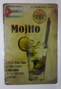 Nostalgie Retro Blechschild Cocktail Mojito recipe 30x20 50076