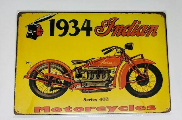 Nostalgie Retro Blech Schild 1934 INDIAN Motorcycle, Series 402 30x20cm 50096