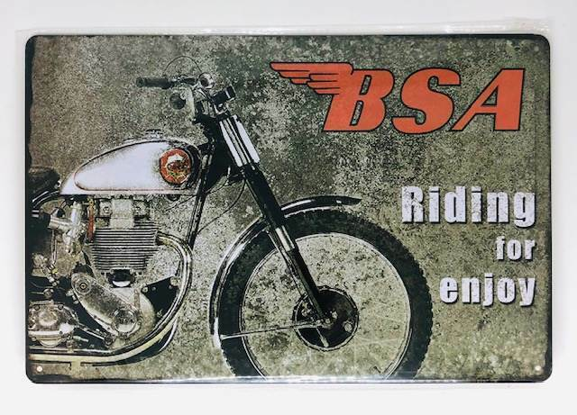 Nostalgie Retro Blechschild BSA Riding for enjoy 30x20cm 50085