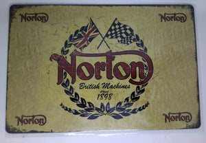 "Nostalgie Retro Blechschild ""Norton British Machines since 1898"" 30x20 50163"
