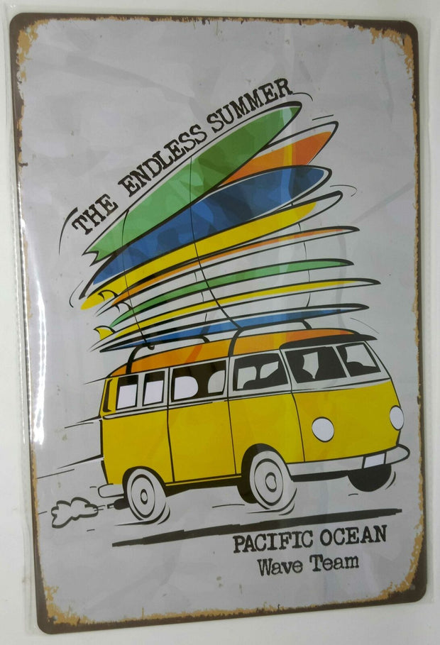 "Nostalgie Retro Blechschild VW Bus Surfing ""the endless summer"" 30x20 50147"