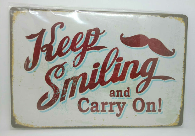 "Nostalgie Retro Blechschild ""Keep Smiling and Carry On!"" 30x20 50251"