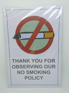 "Nostalgie Retro Blechschild ""No Smoking Policy"" 30x20 50246"