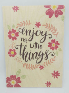 Holzkarte magnetisch enjoy the little things Blumen 14x10 Birkenholz 50262