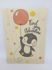 "Holzpostkarte magnetisch ""find your adventure"" Pinguin 14x10 Birkenholz 50308"