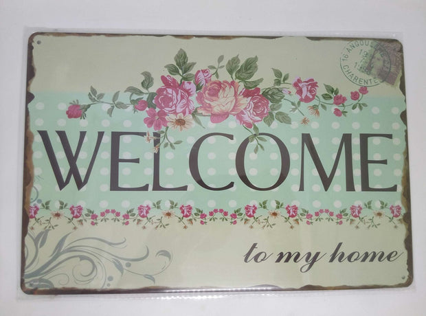 "Nostalgie Vintage Retro Blechschild ""welcome to my home"" Rosen 30x20 50343"