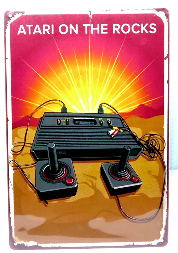 "Nostalgie Vintage Retro Blechschild ""ATARI ON THE ROCKS"" 30x20 12066"